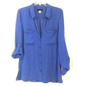 Blue Polyester Button Up